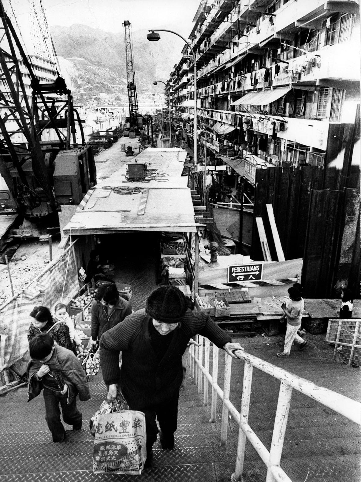 1977年正在興建地鐵的黃大仙區。(圖片來源:Getty)
