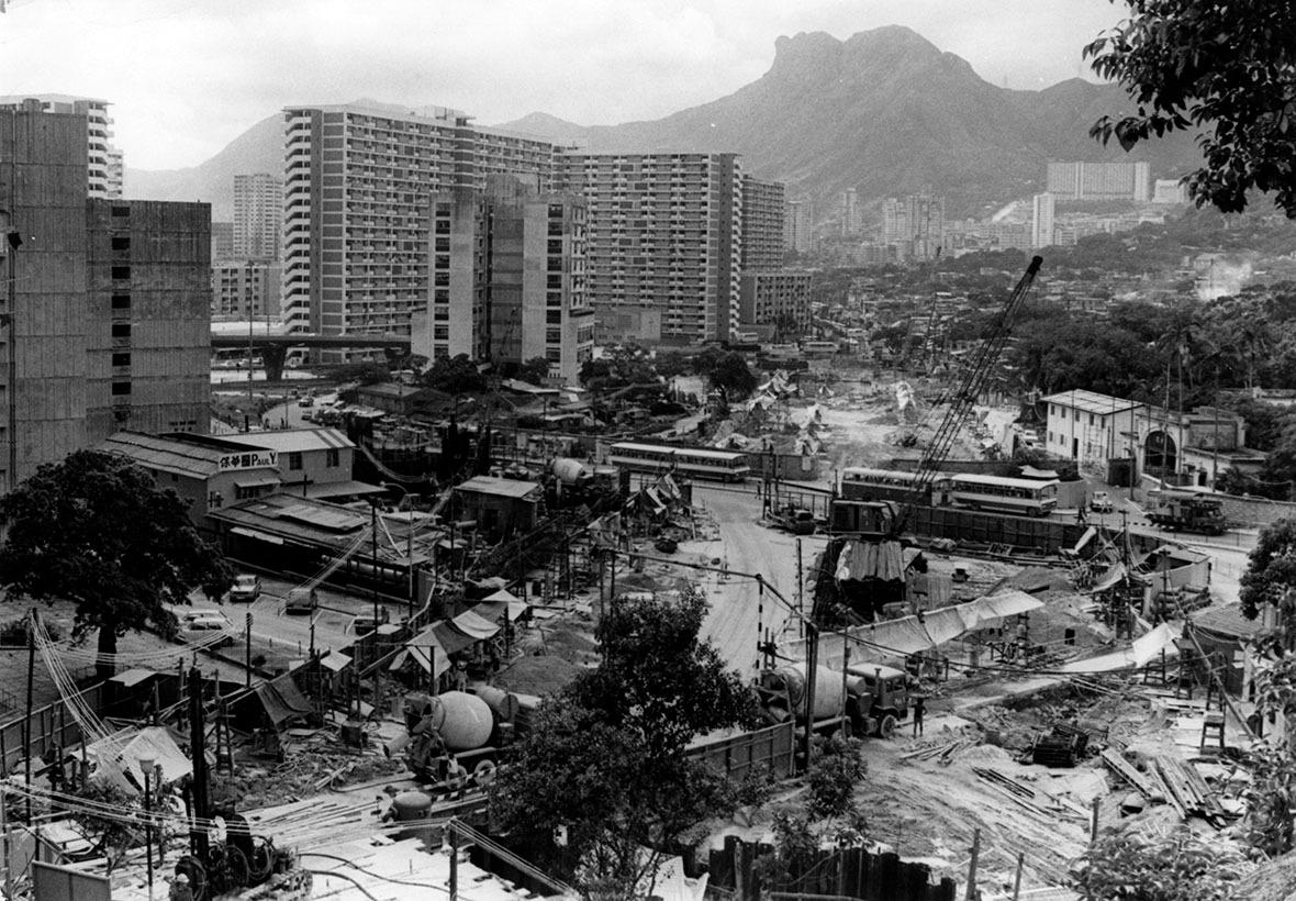 1979年,龍翔道與清水灣道交界的一處建築地盤。(圖片來源:Getty)
