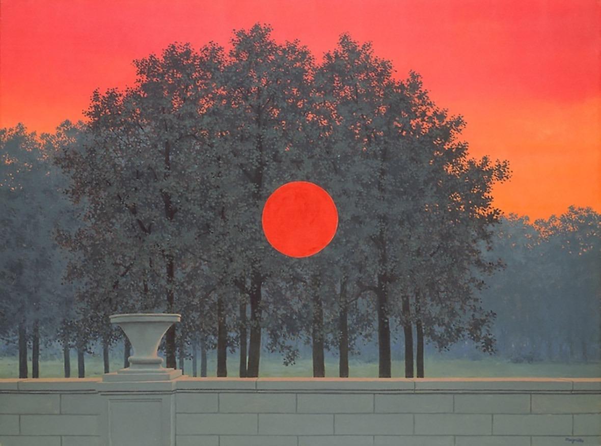 《煙》畫面中央的紅色圓圈,令人聯想到雷內・馬格利特(René Magritte)的名畫《宴會》。(網上圖片)