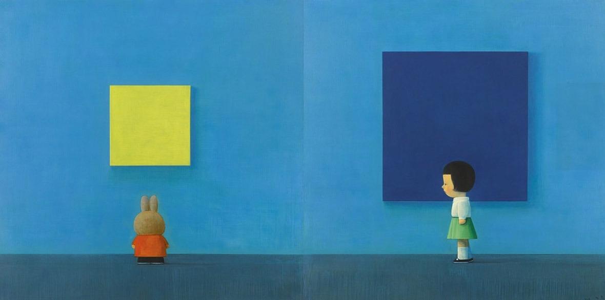 劉野的巨作《國際藍》,2019年以2,596萬港元成交。(網上圖片)