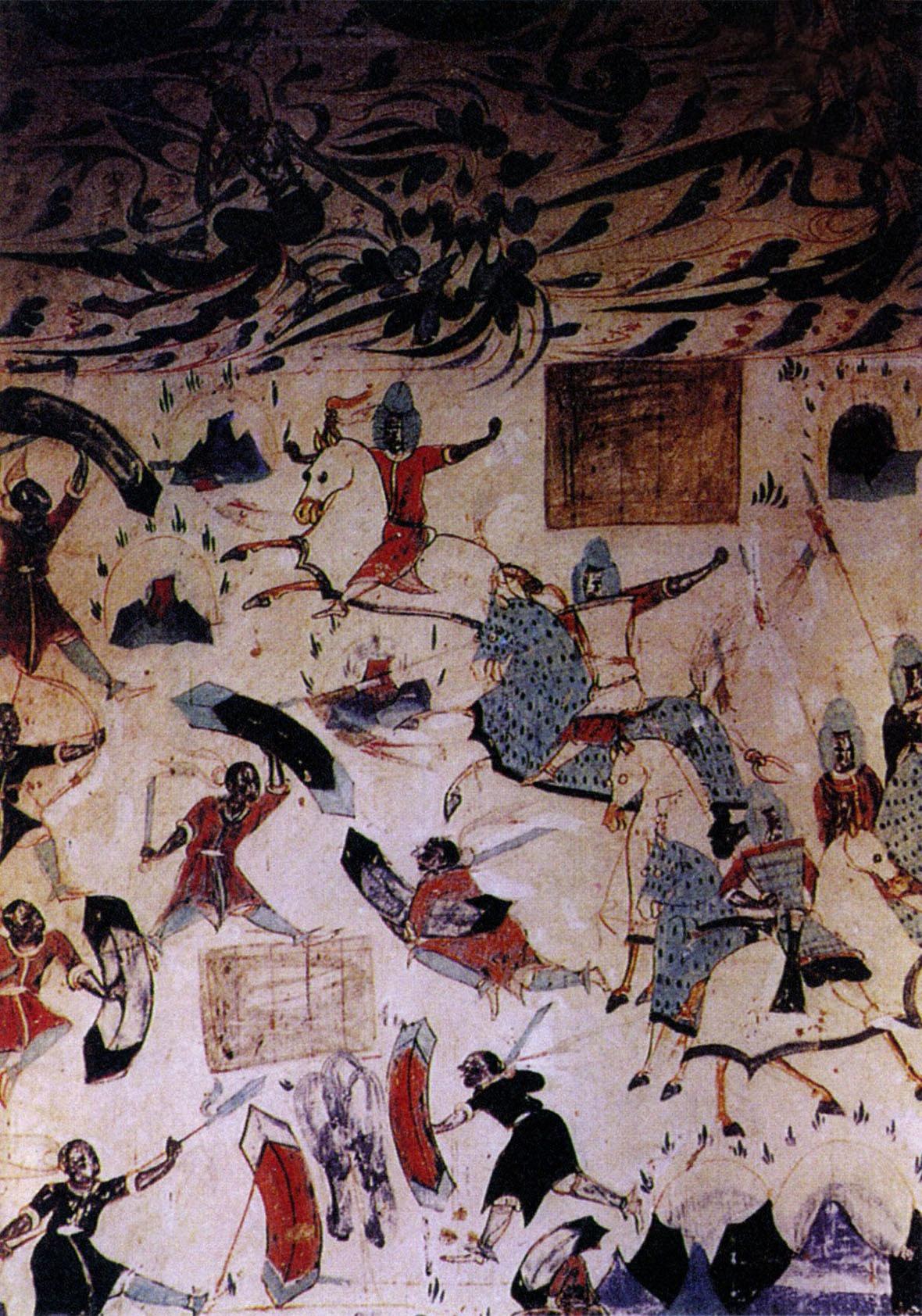 敦煌《五百强盗成佛》壁畫,此畫作於約538-539年間,从畫上披挂馬甲的戰馬,可見當時騎戰的發達程度。(圖片來源:視覺中國)