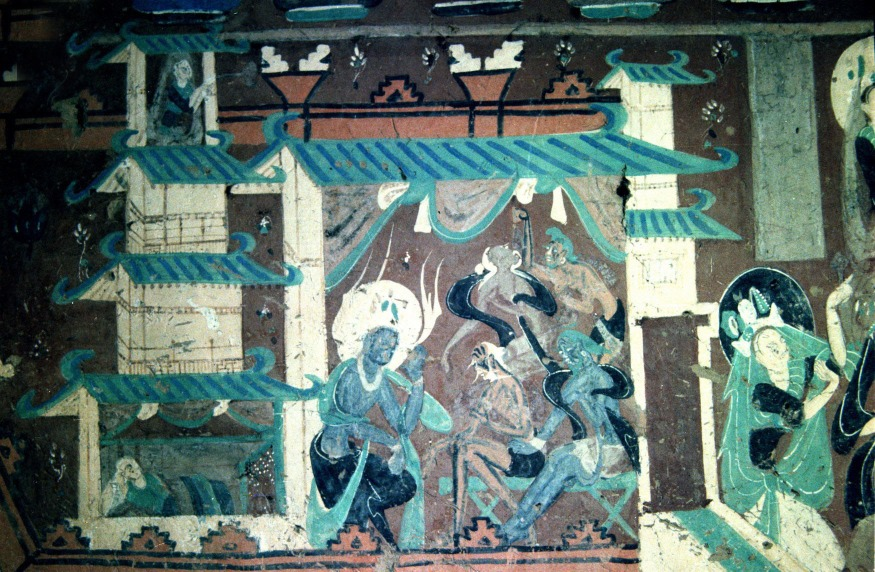 這幅位於257號洞窟內的壁畫,可以反映出北魏當時的建築特色。(圖片來源:視覺中國)