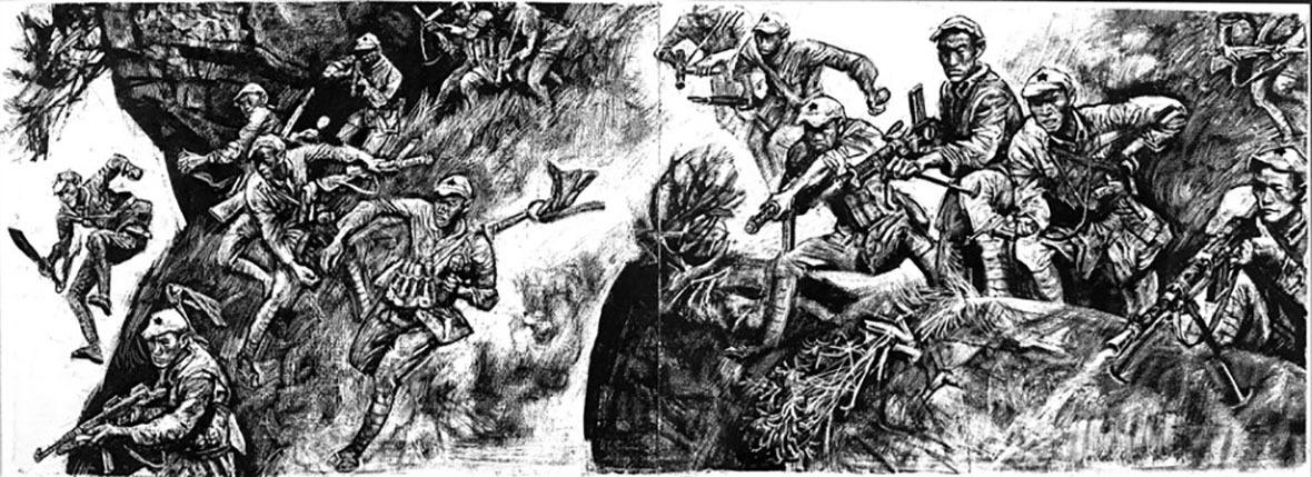 畫家沈堯伊創作的《地球的紅飄帶》,內容描繪紅軍二萬五千里長征。2006年其926幅原稿以1,540萬元人民幣的高價拍賣成交。
