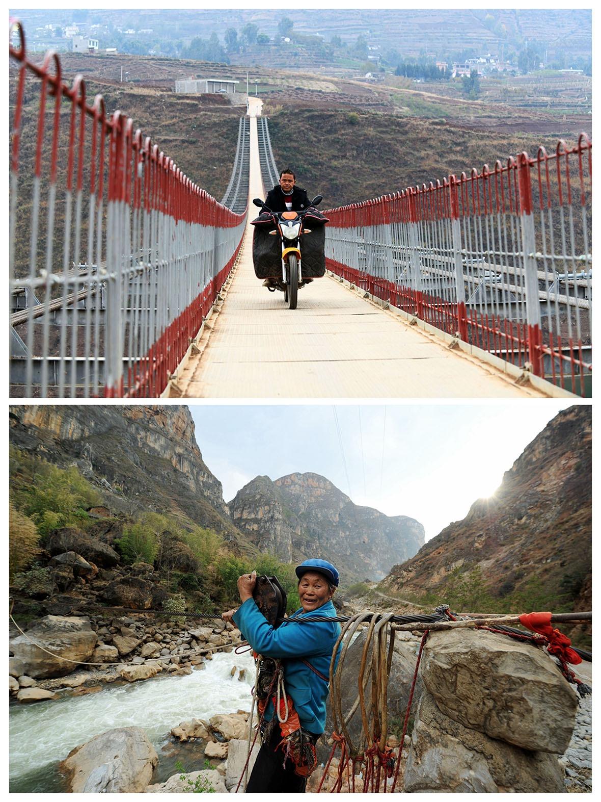 改革開放後,政府在中國西部的怒江、瀾滄江、獨龍江、金沙江等險要地段,立起過百道安穩便捷的石屎橋墎,全面取代步步驚心的高空溜索。(網上圖片)