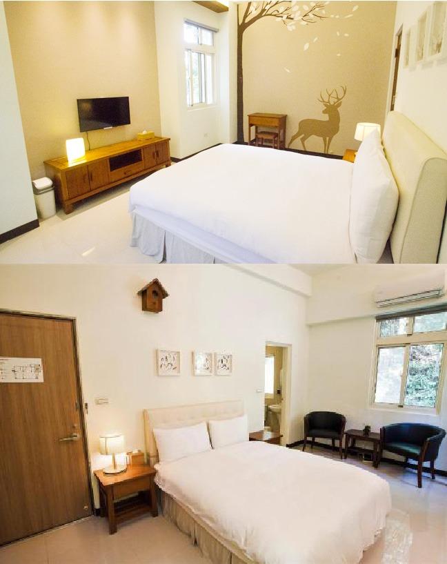 客房設有2或4人房間,而每間房間的設計略小不同,全部都配有精緻的家具;配搭不同的素色系列,仿佛走進樹林的房間裹面。
