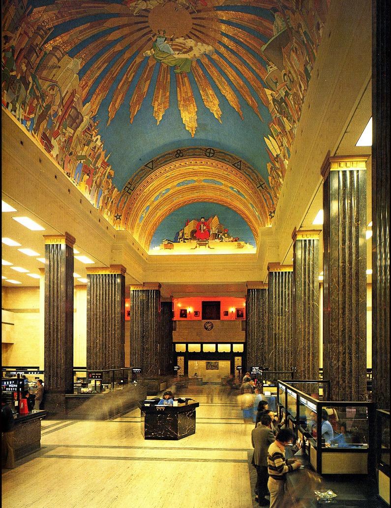 昔日舊滙豐銀行總部設有華麗的天花壁畫,大樓重建時只能保留部分。(圖片來源:滙豐銀行官網)