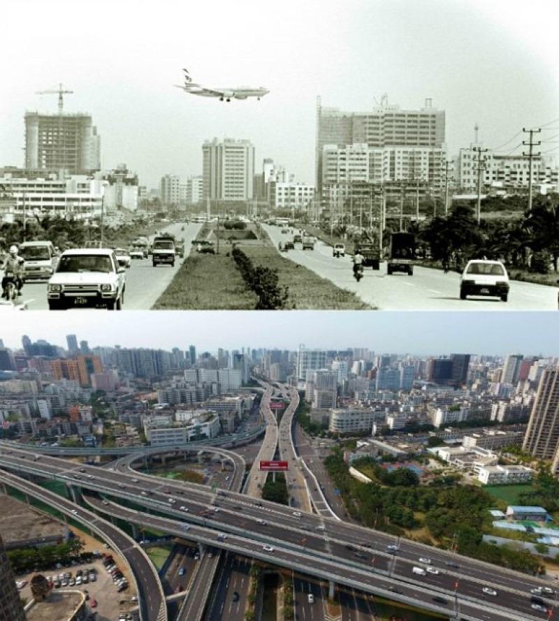 海口市龍昆南路鳥瞰圖,見證改革開放後,馬路基建在海南經濟特區變得四通八達。上圖攝於1993年6月,下圖則攝於2018年4月。(網上圖片)