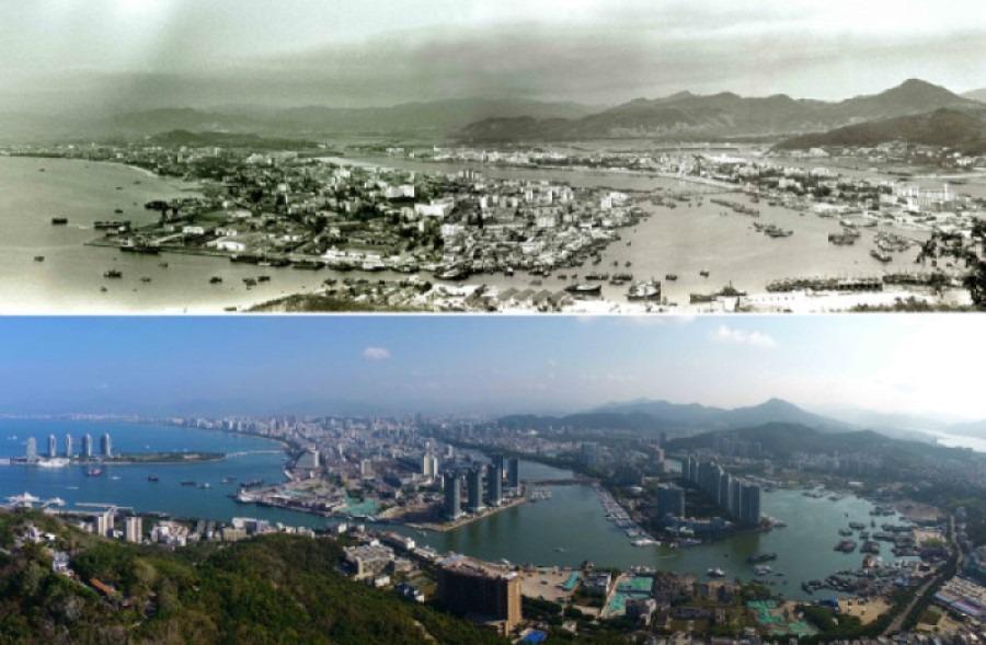 海南三亞市鳥瞰圖,見證改革開放後,海南經濟特區由小漁村變大都會。上圖攝於1991年2月,下圖則攝於2018年4月。(網上圖片)