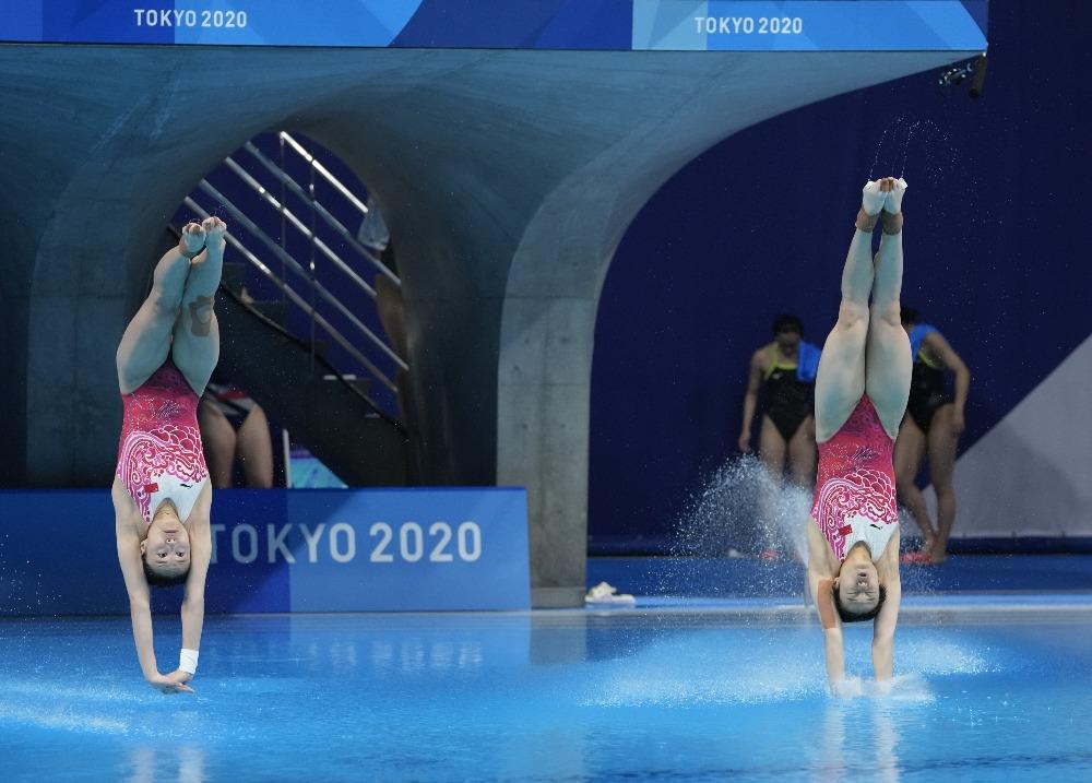 當代中國-體育運動-東京奧運施廷懋王涵女子雙人3米板奪金