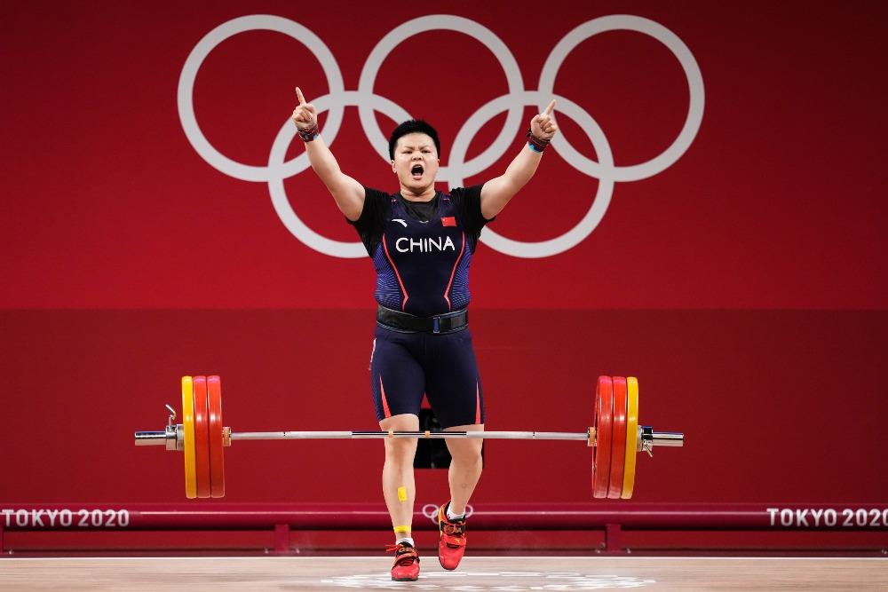 當代中國-體育運動-東京奧運汪周雨87公斤級舉重奪金
