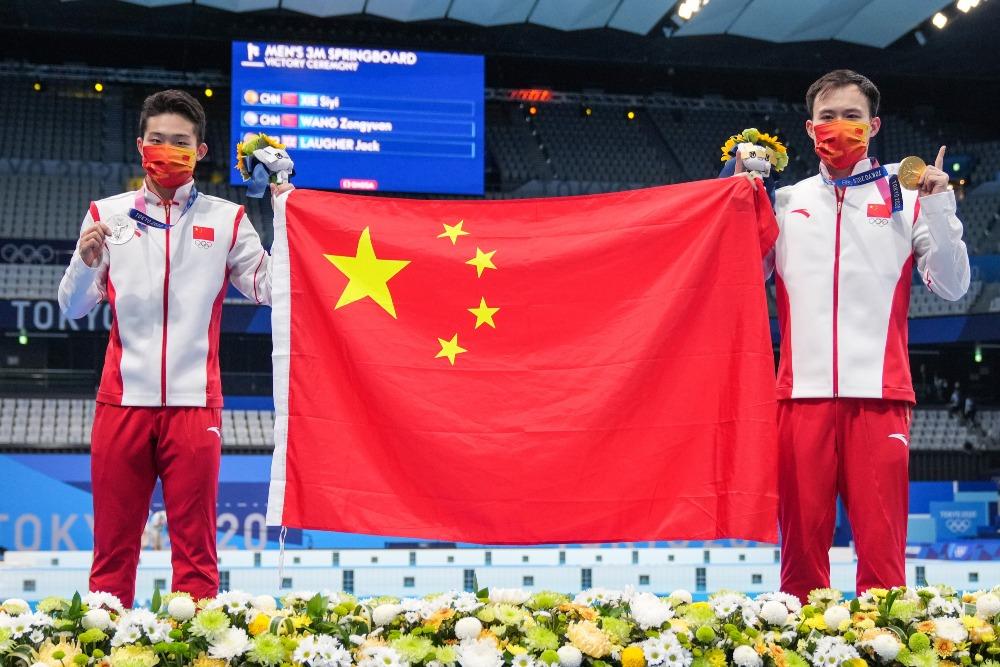 /當代中國-體育運動-東京奧運謝思埸王宗源包攬跳水3米板金銀牌
