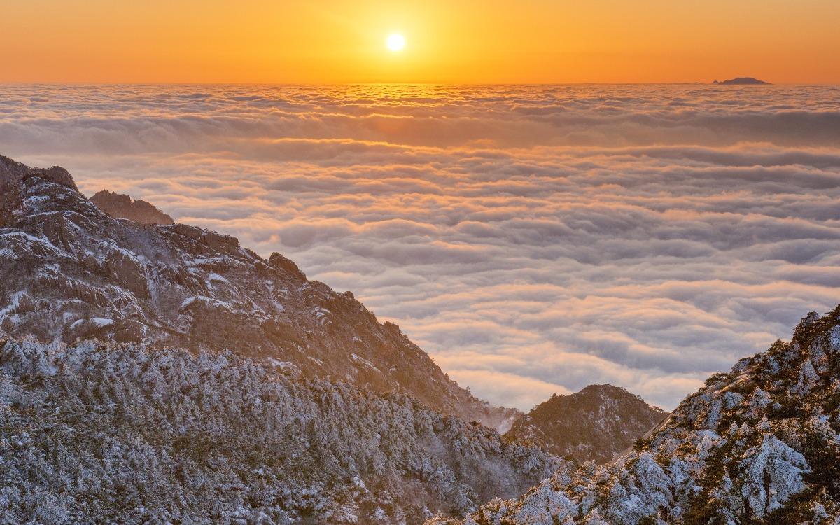 當代中國-中國旅遊-中國旅遊獨有美景黃山冬季賞霧凇雲海