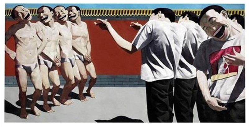 岳敏君1996年創作的《處決》,是對法國印象派之父Édouard Manet 1867年《處決馬西米連諾皇帝》的二次創作,卡地亞當代藝術基金會館長Hervé Chandès分析「岳敏君作品,大笑背後訴求是拘禁、受困。」(網上圖片)