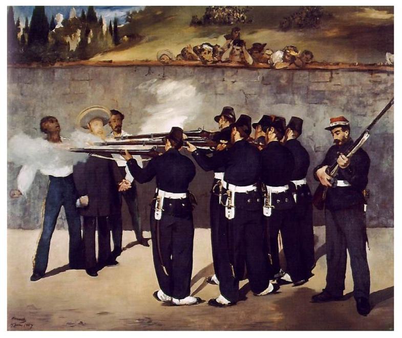 岳敏君1996年《處決》,是對法國印象派之父Édouard Manet 1867年《處決馬西米連諾皇帝》的二次創作,卡地亞當代藝術基金會館長Hervé Chandès分析「岳敏君作品,大笑背後訴求是拘禁、受困。」