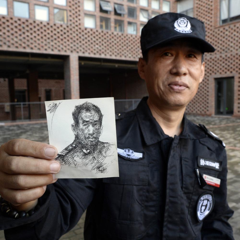 當代中國-中國教育-保安畫畫